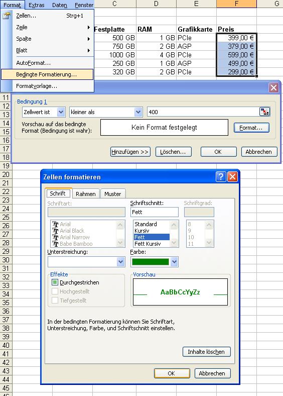 Excel Anleitung – Bedingte Formatierungen – Bedingt Farben und ...