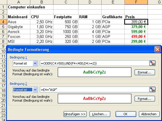 Excel Anleitung Bedingte Formatierungen Bedingt Farben