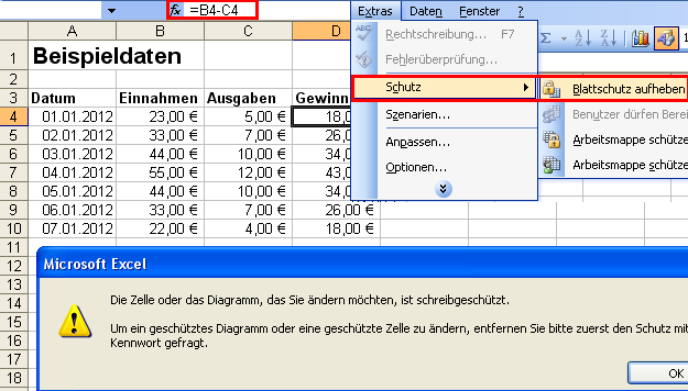 Wie kann ich Teile eines Tabellenblattes in Excel mit einem Passwort ...
