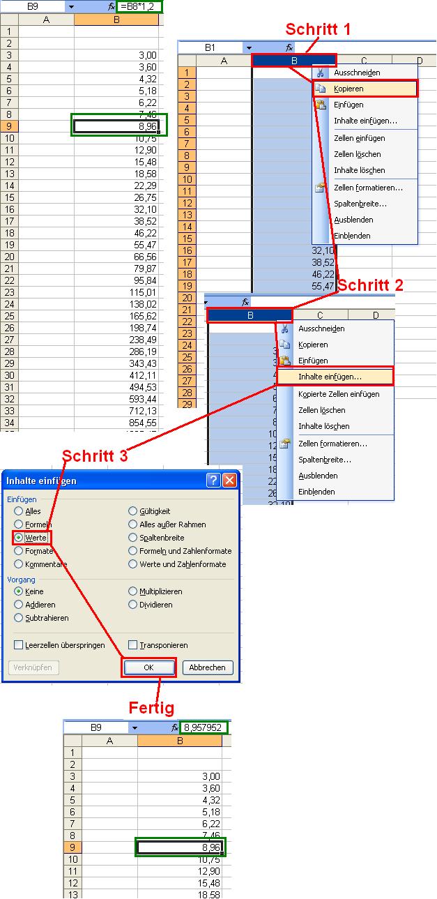 Anleitung wie entferne ich formeln aus spalten zeilen for Xls fenster fixieren