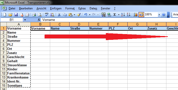 Excel anleitung transponieren werte von spalten in for Xls fenster fixieren